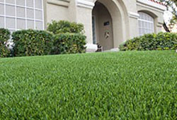View of artificial lawn in front of a house.