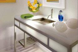 White resin vanity with lighting