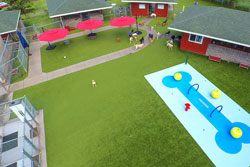 Overhead view of grounds for a doggie daycare