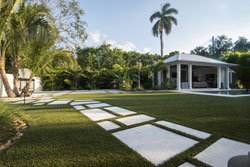 View of lawn with stepping stones and house in background