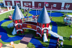 Playground with castle structure in middle