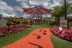 Playground with path showing musical notes