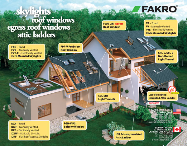 Illustration showing different locations skylights, roof windows and attic ladders can be installed in a house