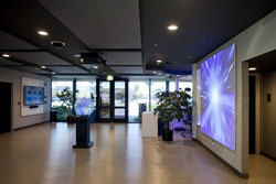 Lobby showing visual display on wall