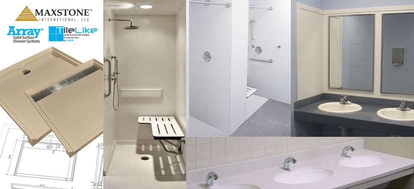 ADA Compliant Solid Surface Shower Compartment & Lavatory Design